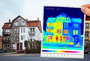 Wärmebild eines Hauses.